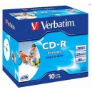 CD-R Verbatim DLP 80 min. 52xPrintable jewel box, 10ks/pack 43325